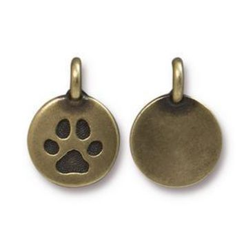 94-2420-27 - TierraCast Pewter Paw Charm, Antique Brass | Pkg 2