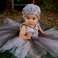 Baby Dress and Hat Grey Pink Peach Lace Grey Flower Applique