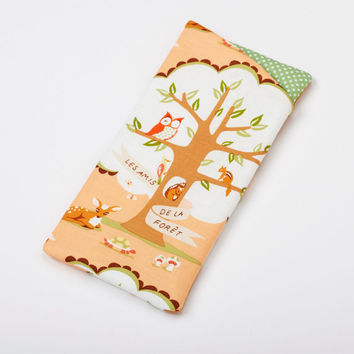 Womens Glasses Case, Sunglass Holder, Fabric Eyeglass Case in Peach Woodland Animals