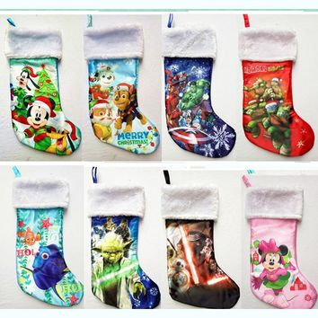"42cm(16.5"") plush minnie mouse Anna Elsa star wars YODA iron man princess Dory turtle cartoon Christmas stocking sock gift bag"