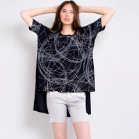 Women's Graphic Black Tee Basic Loose Tunic Shirt  Abstract Pencil Drawing ARTseas