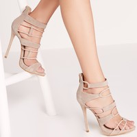 Missguided - Strap Detail Platform Barely Theres Nude