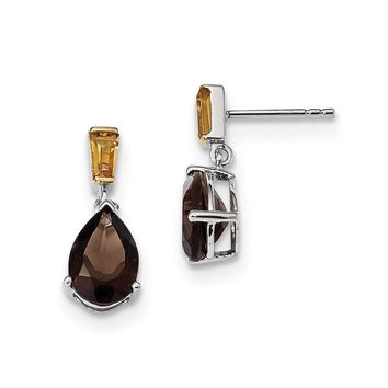 Sterling Silver And 14K Yellow Gold Smoky Quartz Pear And Citrine Earrings