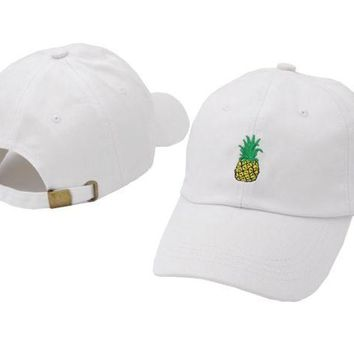 DCCKUNT White Pineapple Embroidered Cotton Baseball Outdoor Sports Cap Hats