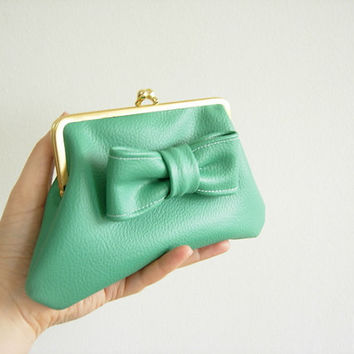 jade green faux leather retro coin purse with bow, Kiss Lock Wallet