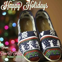 Ugly Disney Christmas Sweater inspired Artwork on TOMS or Vans. Shoes included from Dan-O Florez Custom Artwork