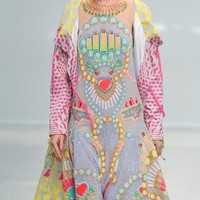 Grey Embellished Lipstick Dress- Buy Manish Arora Paris - S/S'14 Show Looks Online |