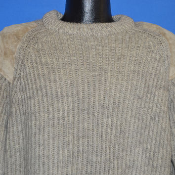 90s Beige Wool Suede Patched Hunting Sweater Medium