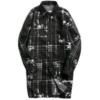 Plaid Printed Long Trench Coats Men Long Sleeves Turn Down Collar Slim Casual Windbreaker Mens Button Up Spring Autumn Outwear