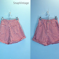 80s High Waist Red Checked Shorts High Waisted Summer Picnic / small