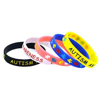 Autism Awareness Puzzle Silicone Wristband Bracelet Youth and Adult Sizes Available