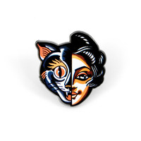 Cat Woman Skull Enamel Pin