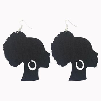 Afro Puff Lady with Earrings | Natural hair earrings | Afrocentric earrings | jewelry | accessories