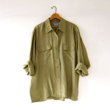 vintage 90s silk shirt. oversized silk blouse. silk pocket shirt. long sleeve silk top. olive green.