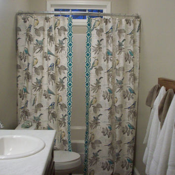 "Extra Long + Reg. length Custom Double Panel/Split Bathroom Shower Curtain- 72"", 84"", 90"", 96"", 108"", 120""-RICHLOOM Natural/Teal/Yellow Bird"