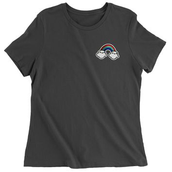 Embroidered Rainbow With Clouds Patch (Pocket Print) Womens T-shirt