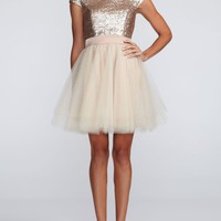 Cap Sleeve Sequin Bodice Dress with Tulle Skirt - David's Bridal - mobile