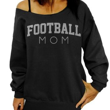 Football Mom, Mother's Day, Gift Idea, Sports, Gift for Mom, Mother Sweatshirt, Oversized, Off the shoulder, Slouchy Sweatshirt, Mom Sweater