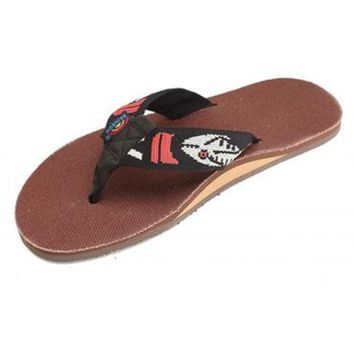 Men's Brown Hemp Top Single Layer Arch Sandal with Silver Fish Strap by Rainbow Sandals