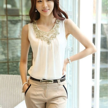 Korean New Fashion Summer Chiffon Blouse Women's Sleeveless Tshirt Round Neck Sequin Tank Tops(Black/White) = 1932619076
