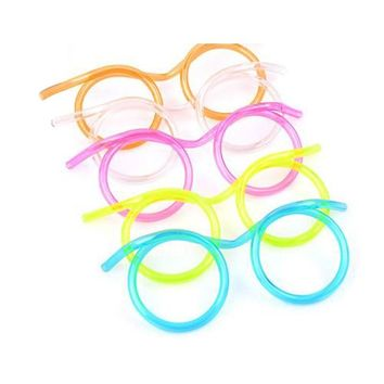 Hot! 10PCS/LOT Funny Soft Glasses Straw Unique Flexible Drinking Tube Kids Party Accessories random color