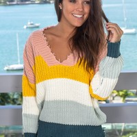 Multi- Colored Distressed Knit Sweater