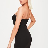 Missguided - Black Strapless Dress