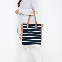 Atlantic Air Tan and Navy Blue Striped Tote