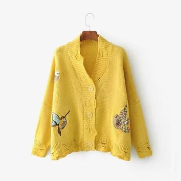 Autumn Winter Bird Embroidery Cardigan Knitted Sweater V-neck Long Sleeve Retro Boho Chic Hole Runway Women Sweater 4 Color
