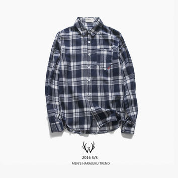 Men's Fashion Vintage Plaid Autumn Cotton Long Sleeve Shirt [7929506563]