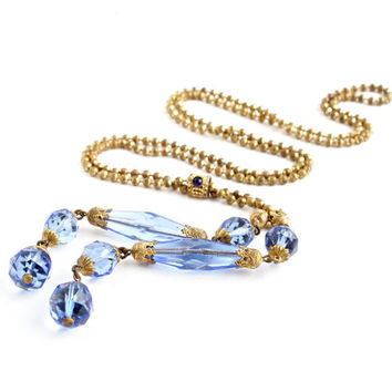 Antique Art Deco Blue Glass Necklace - 1920s 1930s Gold Tone Costume Jewelry / Long Lariat