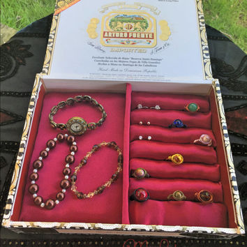 Arturo Fuente Cigar Box Jewelry Box,Ring,Stud Earring,Cuff Link,Watch and Knife Display,Storage and Organizer in a Bright Cherry Red Satin
