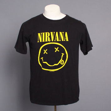 90s NIRVANA Smiley Face T-SHIRT / 1992 Original Soft Black Tee L