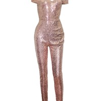 Casual Sparkling Hot Off Shoulder Glitter Plain Jumpsuit