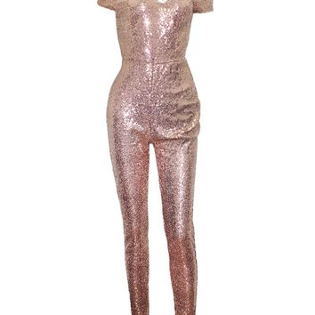 Streetstyle  Casual Sparkling Hot Off Shoulder Glitter Plain Jumpsuit