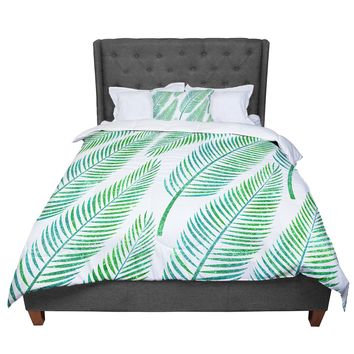 "83 Oranges ""Green Palm"" Teal Green Illustration Comforter"