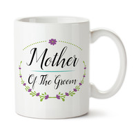 Mother Of The Groom, Floral Wreath, Purple Flowers, Wedding Party Gifts, Design, Coffee Mug, Coffee Cup, Typography, 15 oz, Tea Cup
