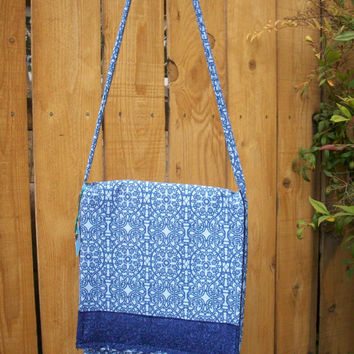 Indigo Lace on Rich Blue Medallion Handy Hip Bag for Book Laptop Cross Body  Shoulder Strap Bag