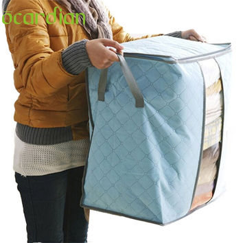 Ocardian 2017 Hot Sale Portable Organizer Non Woven Underbed Pouch Storage Box Bamboo Clothing Storaging Bag Gift
