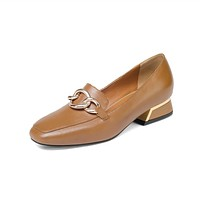 Genuine Leather Women Puppy Heels Loafers Shoes Big Size 2080