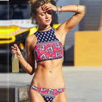2017 Trending Fashion Retro Vintage Floral Printed Sexy Floral Printed Two-Piece Erotic Bikini Swim Suit Beach Bathing Suits Swimwear _ 13158