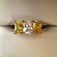 Citrine and Diamond 6 Ct Estate Ring- Emerald Cut from GemEnvy