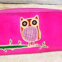 Rosey Pink Owl Coin Purse Wallet   SALE 50% off