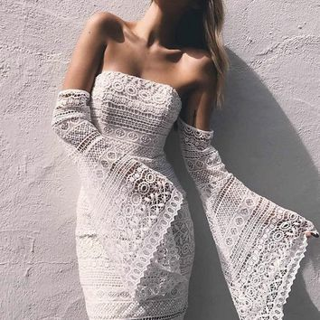 Adriana White Off shoulder Lace Dress
