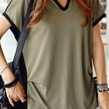 Army Green and Black V-Neck Short Sleeve T-Shirt