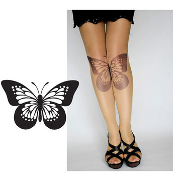 S-XXL Sizes Available,Nude Color Pantyhose,Butterfly Tights,Leggings.