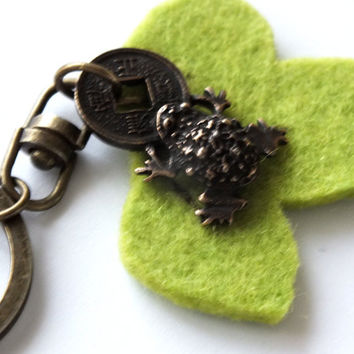 Keychain With Small Money Frog And Lime Green Leaf Made Of Merino Wooll Felt