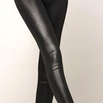 Women's High Waisted Sexy Faux Leather Stretch Leggings