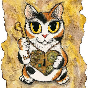 Steampunk Cat Valentine Kitten Victorian Cat Painting Heart Locket Key Big Eye Fantasy Cat Art Print 8x10 Cat Lovers Art
