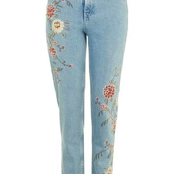 PETITE Floral Embroidered Mom Jeans